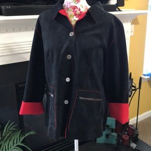 Chico's Black & Red Button Up Jacket